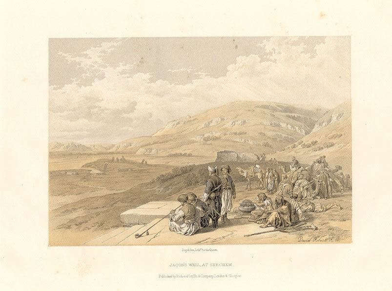 JACOB'S WELL, AT SHECHEM, David Roberts Tinted Landscape Lithograph