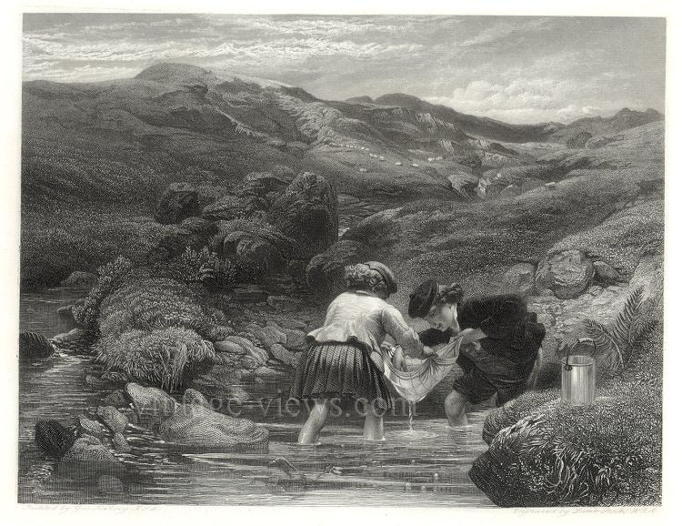 LITTLE BOY AND GIRL FISHING IN STREAM,1859 Engraving