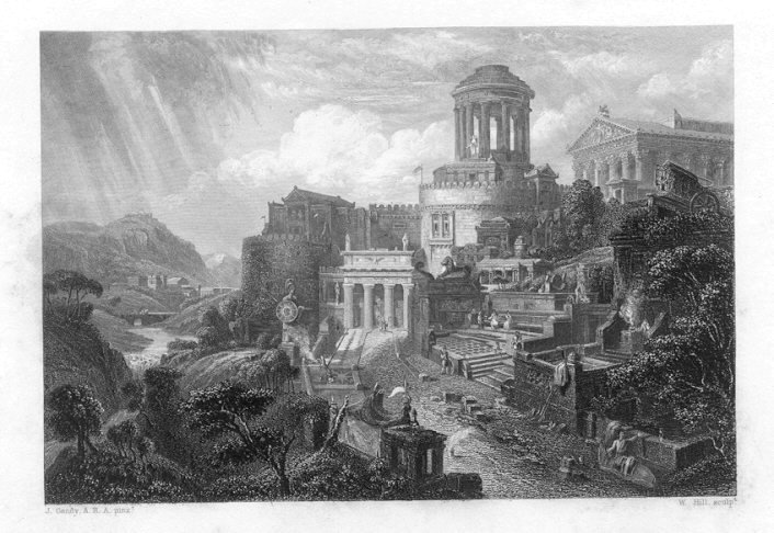 ENTRANCE TO A GREEK CITY, 1835 Antique Print