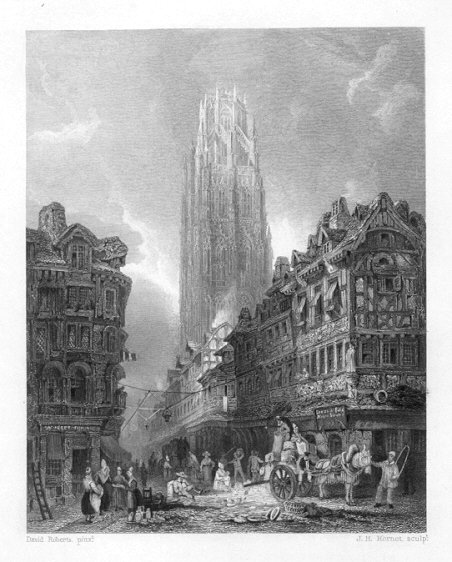 ROUEN in FRANCE,Cathedral,1835 Antique Print