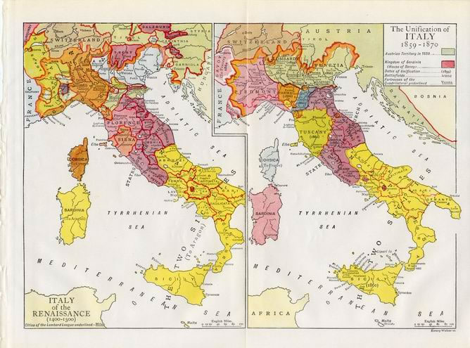 UNIFICATION OF ITALY 1859-1870,Historical Vintage Map