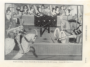 KNIGHTS JOUSTING IN A TOURNAMENT,1911Lithograph