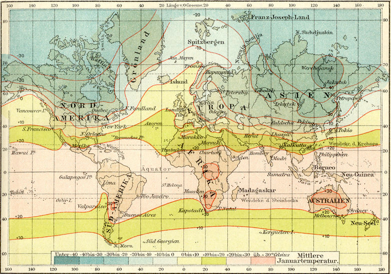 1890s Color Map WORLD WEATHER CHART Meteorological