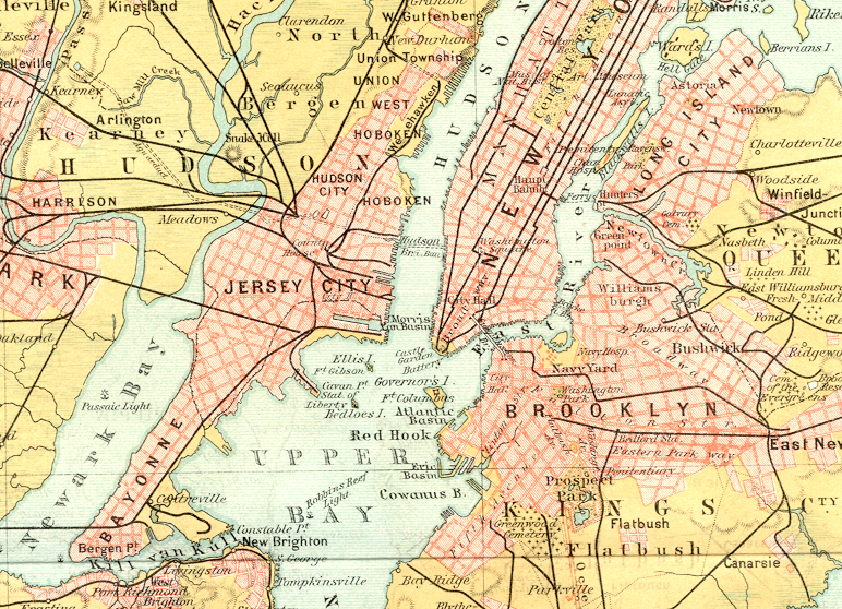 1890s Color Map New York City, Brooklyn, Queens, Jersey