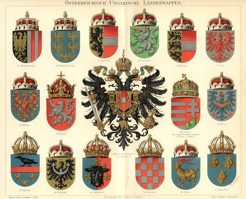 AUSTRIAN AND HUNGARIAN CRESTS, �STERREICHISCH - UNGARISCHE L�NDERWAPPEN,1894 Original Antique Chromolithograph
