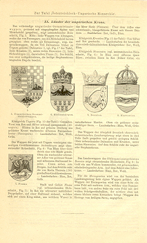 GERMAN - HUNGARY CRESTS,1894 Original Antique Wood Engraving