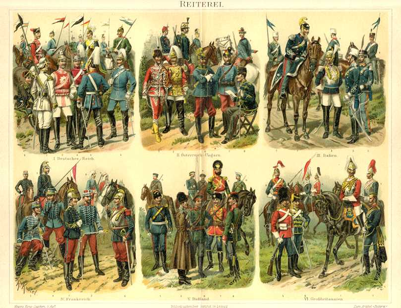 CAVALRY,REITEREI,Cavalry Uniforms,Militaria, 1894 Original Antique Chromolithograph