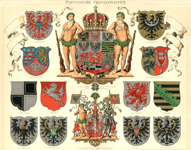 PRUSSIAN PROVINCIAL COAT OF ARMS, PREUSSEISCHE PROVINZWAPPEN,1894 Original Antique Chromolithograph