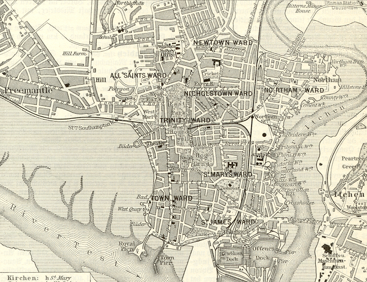 SOUTHAMPTON FREEMANTLE NORTHAM ITCHEN 1890s Antique Map