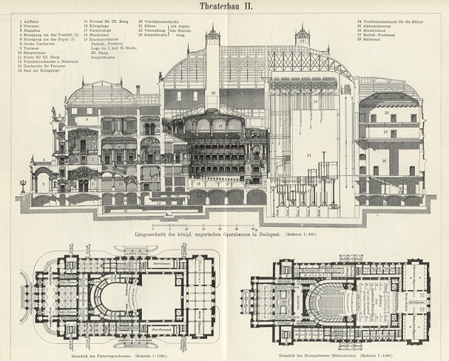 Opera House Floor Plans The Hungarian State Opera House 1894 Original Antique Wood Engraving