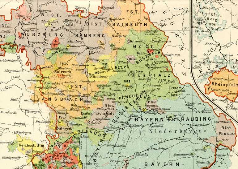 HISTORICAL BAVARIA AND KURPFALZ,GERMANY,Colour Map