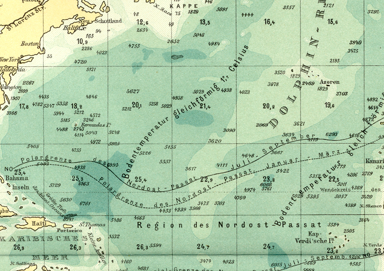 ATLANTIC OCEAN DEPTH RATIOS,Historical Colour Map