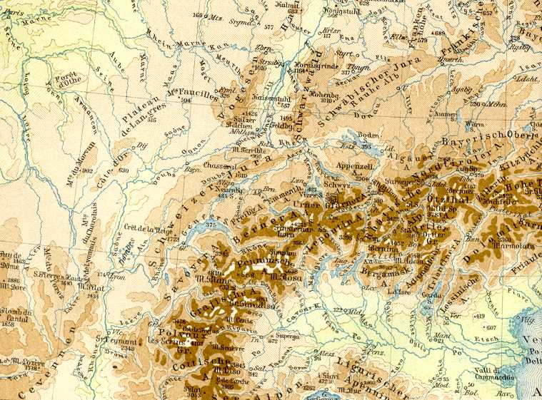 Map Europe Rivers Mountains Map of Europe Mountains And