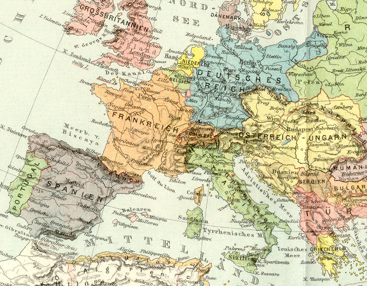 1890s Map - EUROPE - Political - Historical