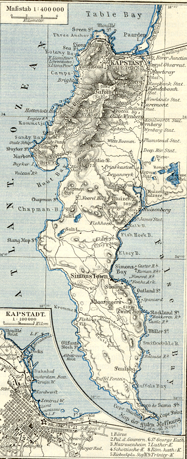 map of south africa cape town. 1890s Map CAPE TOWN South