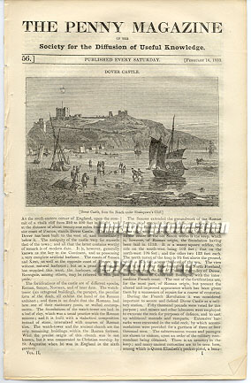 Dover Castle, Shakespeare Cliff 1833 Penny Magazine