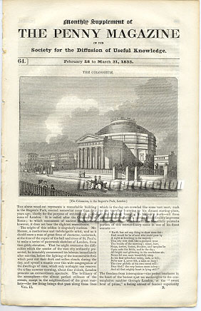 Colosseum Regents Park London 1833 SDUK Penny Magazine