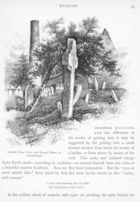 ANCIENT STONE CROSS ROUND TOWER GLENDALOUGH Wicklow