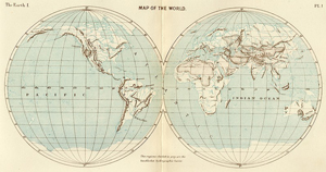 Hemisphere world map pacific ocean indian ocean