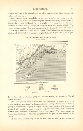 NORTHERN BAYS OF LAKE SUPERIOR,CANADA,Antique Map