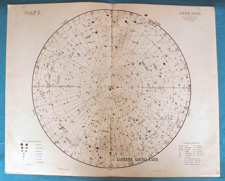 Star Map 1 Constellation 1880 Antique Print