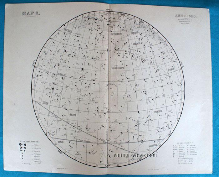 Star Map 2 Constellation 1880 Antique Print