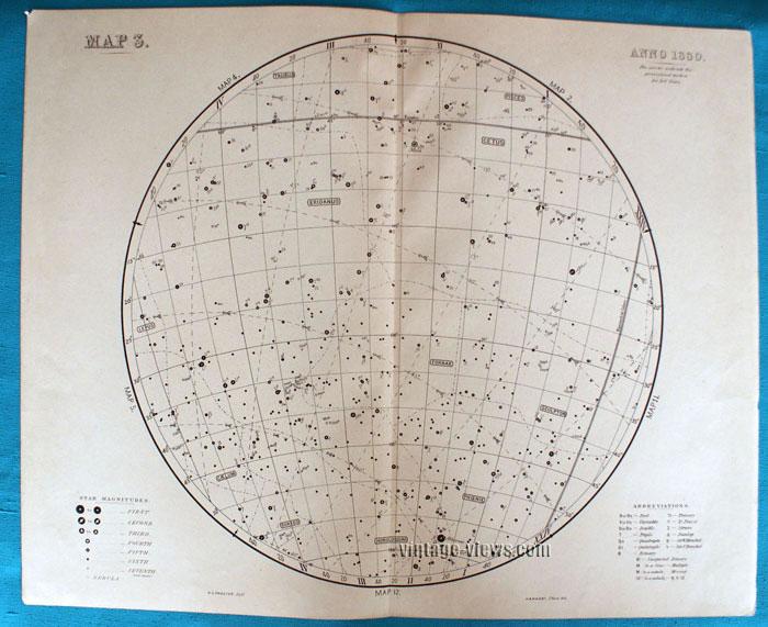 Star Map 3 Constellation 1880 Antique Print