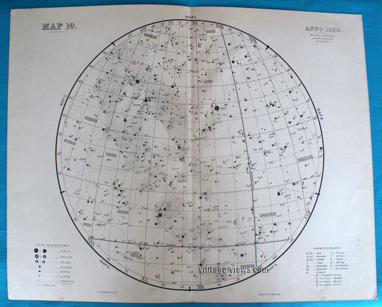 Star Map 10 Constellation 1880 Antique Print