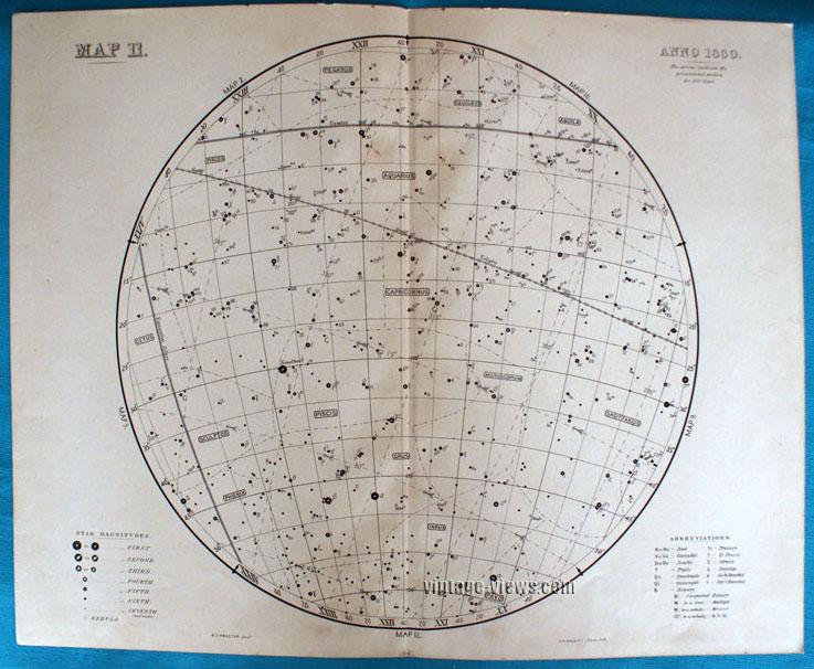 Star Map 11 Constellation 1880 Antique Print