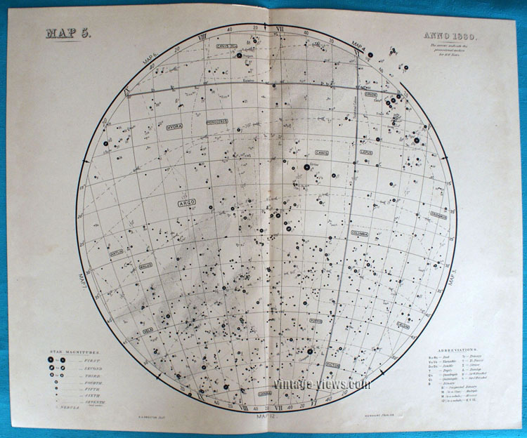 Star Map 5 Constellation 1880 Antique Print