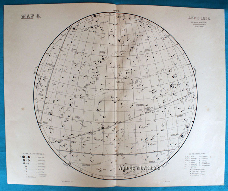 Star Map 6 Constellation 1880 Antique Print