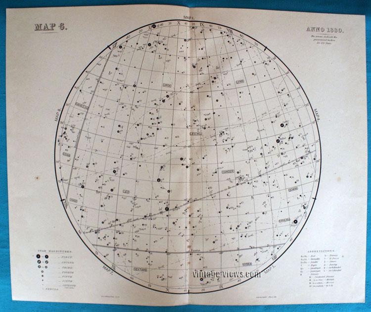 Star Map 6 Constellation 1880 Antique Print