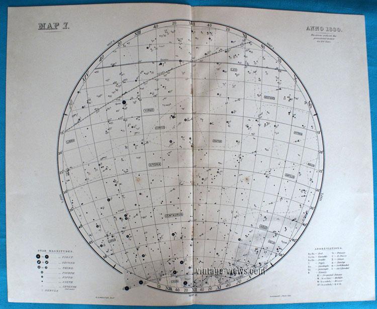 Star Map 7 Constellation 1880 Antique Print