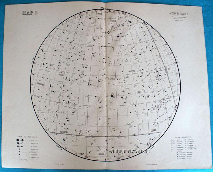 Star Map 8 Constellation 1880 Antique Print