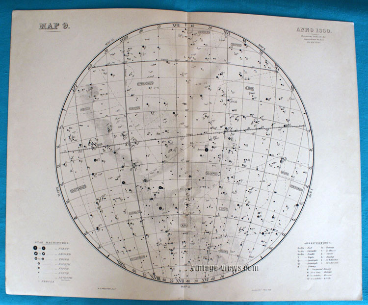 1880 Star Map of Constellation Antique Print