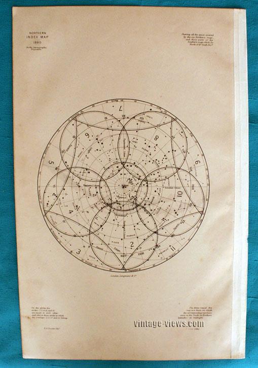 Star Map Constellation Northern Index 1880