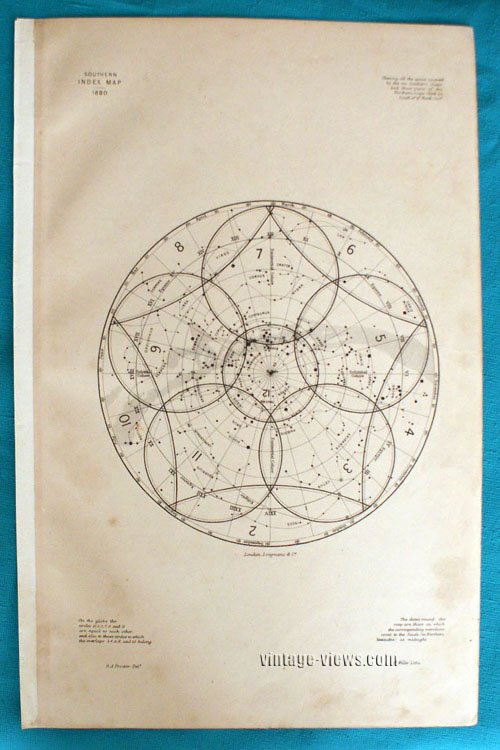 Star Map Constellation Southern Index 1880