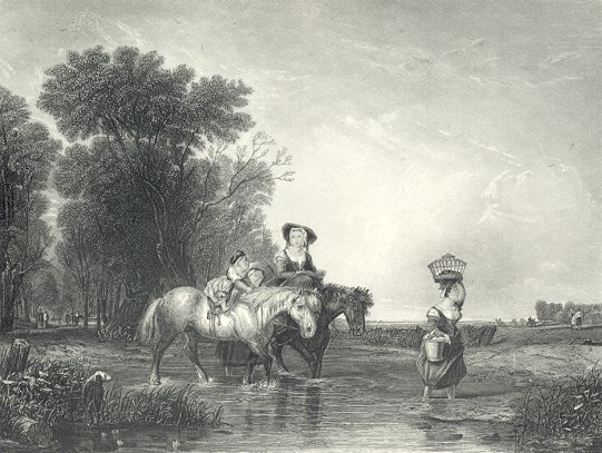 FAMILY CROSSING RIVER ON HORSEBACK,1878 Print