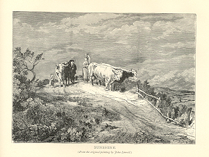 TAKING CATTLE TO PASTURE IN THE SUNSHINE,1878 Print