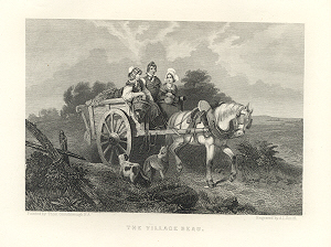 HORSE IN HARNESS PULLING CART,Pitbulls,1878 Print