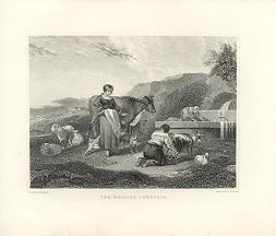 MILKMAID MILKING A GOAT,1878 Print