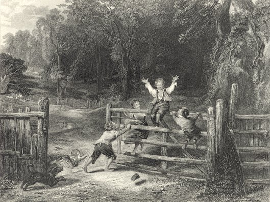 FARM CHILDREN PLAYING ON THE OLD GATE,1878 Print