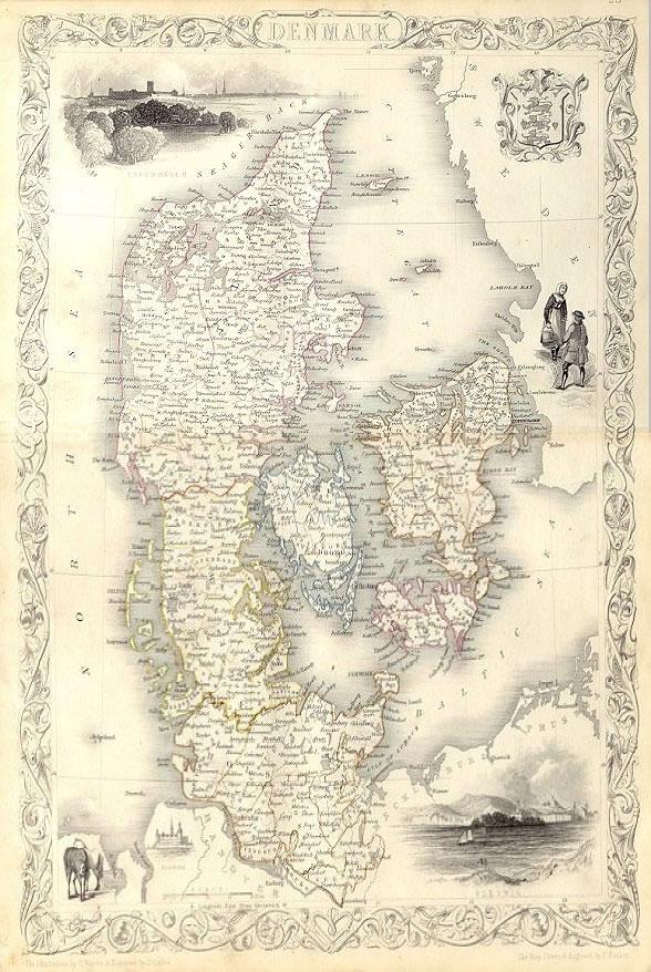 ca. 1850 Tallis Map - Denmark