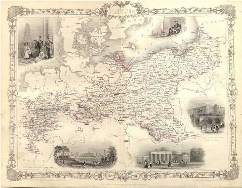 ca. 1850 Tallis Map - Prussia
