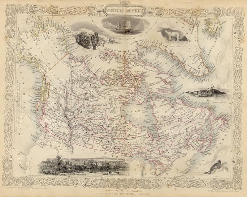 ca. 1850 Tallis Map - British America (Canada)