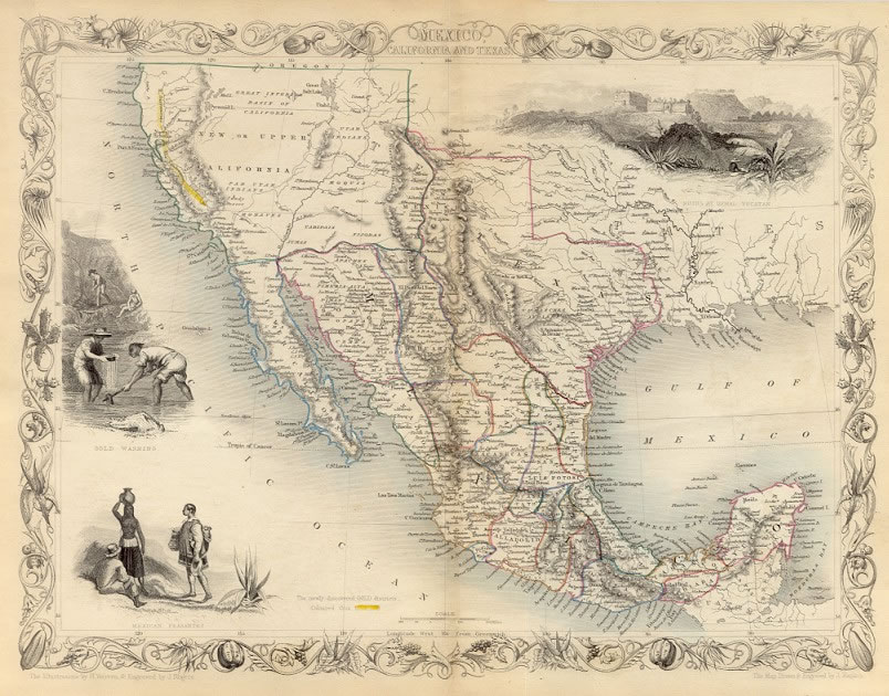 ca. 1850 Tallis Map - USA - Mexico, California and Texas