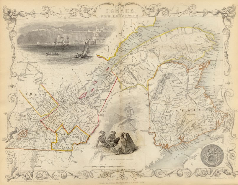 ca. 1850 Tallis Map - EAST CANADA AND NEW BRUNSWICK