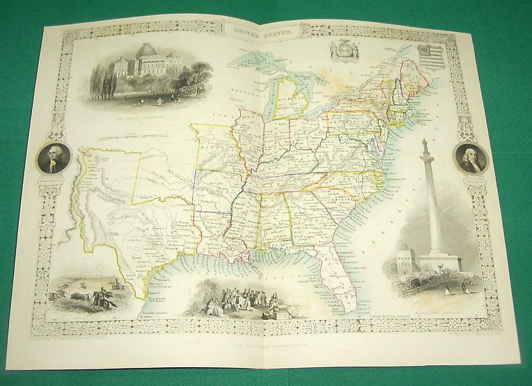 ca. 1850 Tallis Map - USA - United States