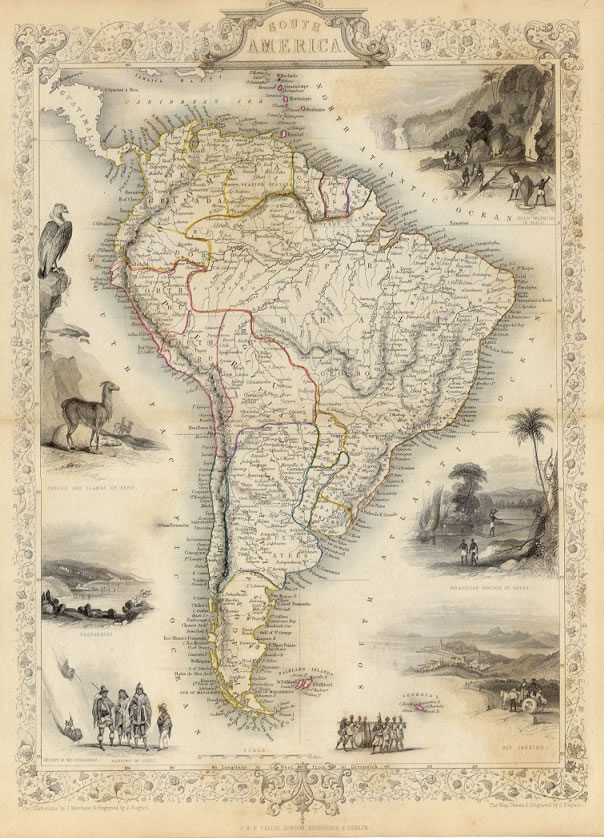 ca. 1850 Tallis Map - SOUTH AMERICA