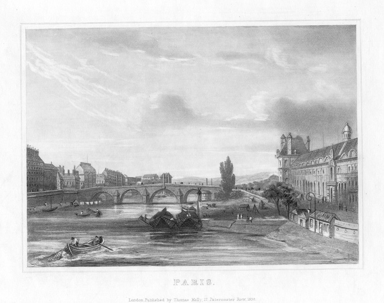 PARIS CITY VIEW,1832 Historical Antique Print